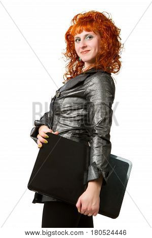 businesswoman using laptop computer smiling. Isolated on white background.
