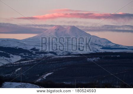 Panorama of winter mountains in Caucasus regionElbrus mountain Russia