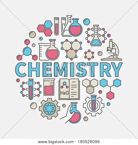 Chemistry round colorful illustration. Vector science and education symbol made with word CHEMISTRY and chemical icons
