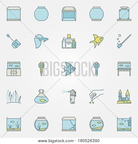 Aquarium colorful icons - vector set of aquarium supplies and accessories for fish creative symbols or design elements