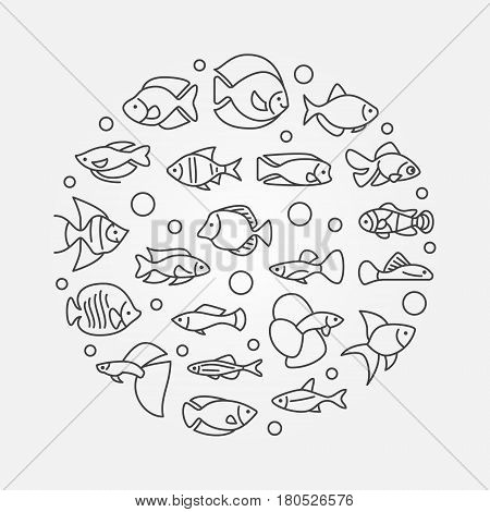 Aquarium fish illustration - vector round minimal symbol made with icons of outline freshwater and saltwater fish