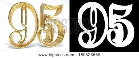 Golden number ninety five on white background with drop shadow and alpha channel. 3D illustration