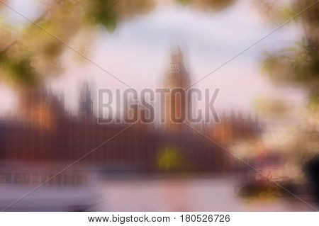 Image of beautiful spring day with Big ben and the Thames River