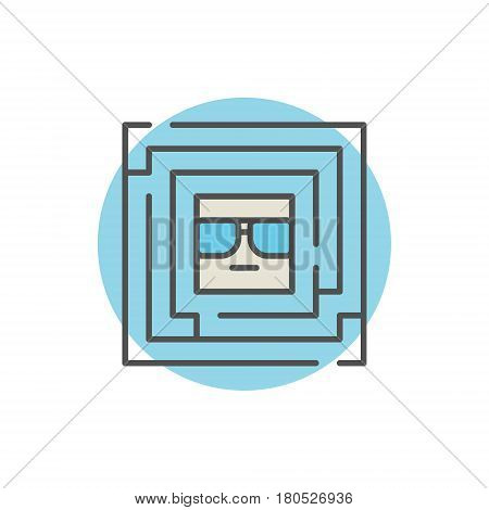 Colorful labyrinth with geek inside icon. Vector creative maze sign