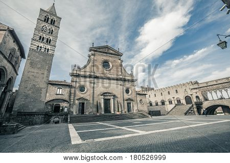 Viterbo Cathedral. Italian: Duomo di Viterbo, or Cattedrale di San Lorenzo is a Roman Catholic cathedral, and the principal church of the city of Viterbo, Lazio, central Italy. It is the seat of the Bishop of Viterbo and is dedicated to Saint Lawrence.