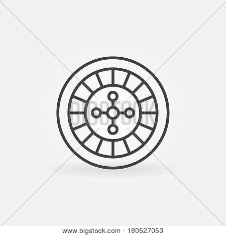 Roulette linear icon. Vector roulette wheel concept casino symbol or logo element in thin line styl