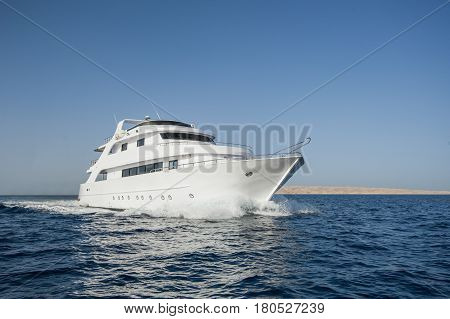 Luxury Motor Yacht At Sea