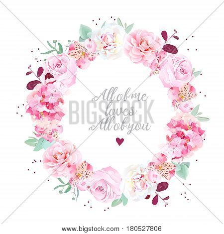 Stylish wedding flowers card. White peonies, alstroemeria lily, pink rose, camellia, hydrangea, eucalyptus leaves round vector frame with dots. Speckled details. All elements are isolated and editable
