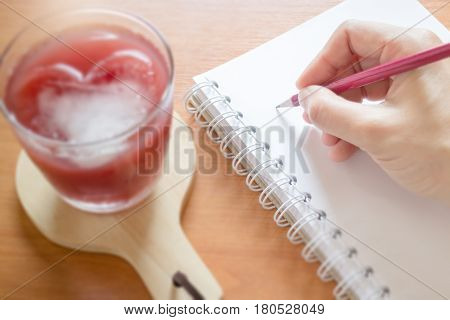 Mix Fruit Juice On Writer Work Table stock photo
