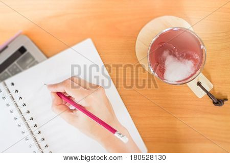 Mix Fruit Juice On Writer Working Table stock photo