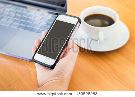 Serving The Net On Smart Phone stock photo