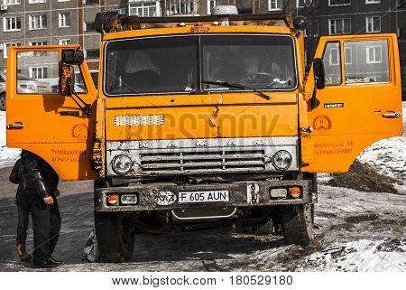 Kazakhstan, Ust-Kamenogorsk, march 12, 2017: Oldtimer truck Kamaz 55102, front view