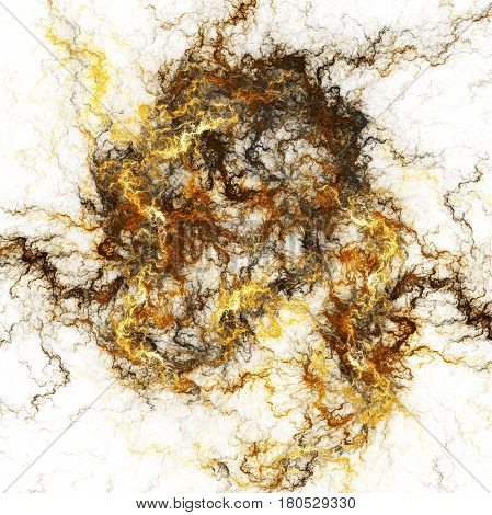 Abstract Fiery Shapes On White Background. Fantasy Fractal Artwork In Golden And Grey Colors. 3D Ren
