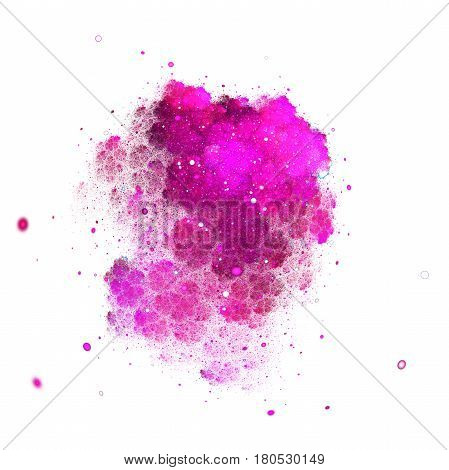 Abstract Crimson Sparkles And Curls On White Background. Fantasy Fractal Texture. Digital Art. 3D Re