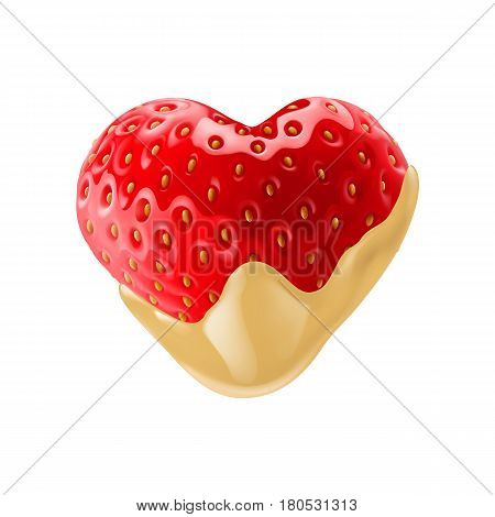 Fresh Strawberry in Heart Shape Dipped in White Chocolate Fondue for Creative Idea