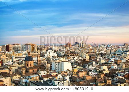 Evening panoramic view of Valencia from a tower of Valencia cathedral Spain.