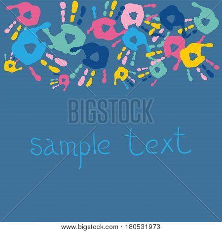 Stylish Abstract Background With Handprints And Text