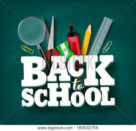 Back to school vector design with 3d title and school items and elements in green chalkboard background. Vector illustration. poster