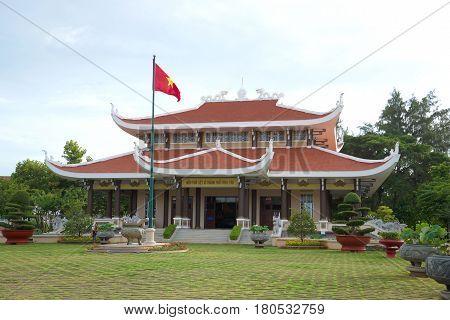 VUNG TAU, VIETNAM - DECEMBER 21, 2015: Main building of the memorial pantheon of Ho Chi Minh cloudy morning