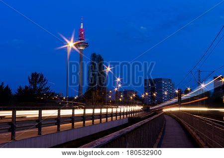 FRANKFURT AM MAIN - April 03 2017 : The Tower of Europe (Europaturm) at night in the city of Frankfurt am Main in Germany