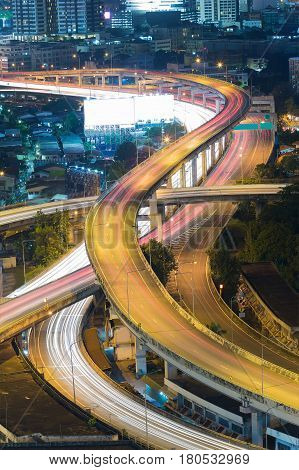 Aerial view Highway overpass intersection at night
