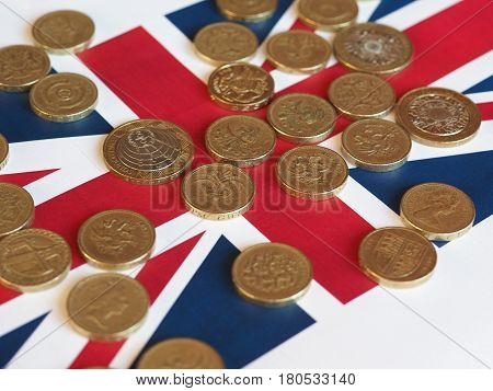 Pound Coins, United Kingdom Over Flag