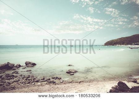 Vintage tropical coast (seascape) in summer. Landscape of seacoast. vintage effect color tone.