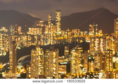 Hong Kong city residence blurred bokeh light night view mountain abstract background