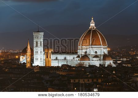 Panorama and Cathedral Santa Maria Del Fiore at summer night in Florence, Italy.