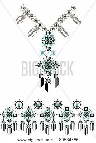 Vector Ethnic necklace Embroidery for fashion women. Pixel tribal pattern for print or web design. jewelry, necklace, crystal print on fabric. Seamless ornament