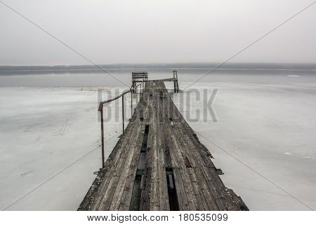 long boat pier on lake in Leningrad region