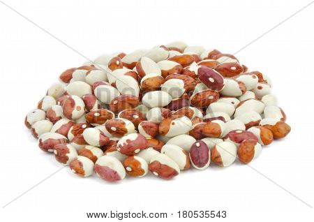 Pinto white pointed beans, legumes isolated on white background