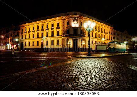 WIESBADEN GERMANY - February 20 2017: Hessischer Landtag in Wiesbaden Germany. The building houses the Hesse parliament.