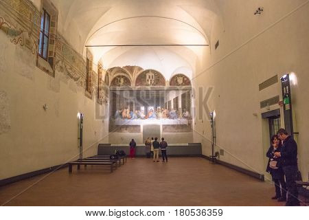 Milan, Italy - November 15, 2016: refectory of church Santa Maria Delle Grazie in Milan in Italy, hosting The Last Supper masterpiece of late 1490s, after restoration. center side point of view.