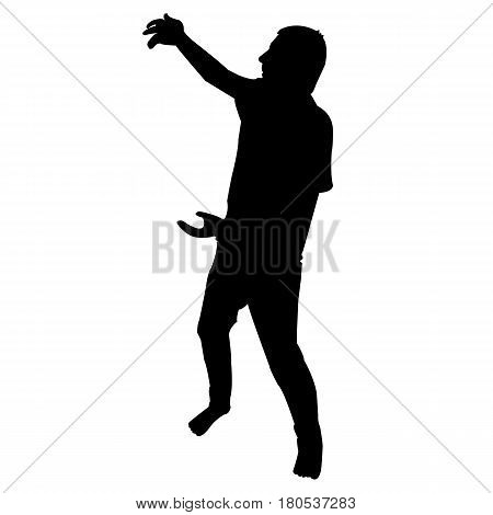 Silhouette of man with hands opened over white background