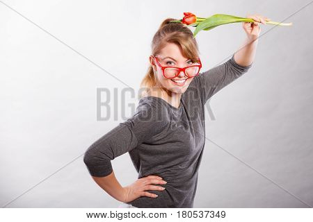 Nerdy Girl Waving Flower.