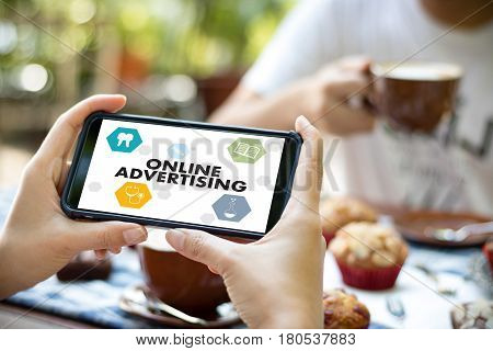 Online Advertising Man Working On Laptop , Website Marketing , Update Trends  Advertising , Online B