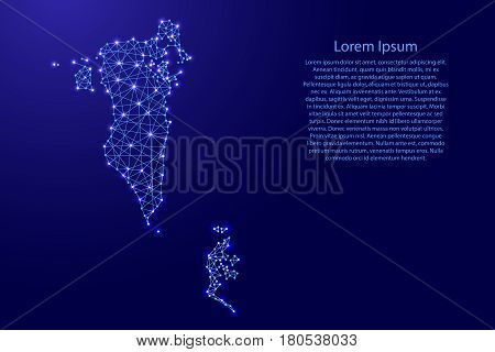 Map of Bahrain from polygonal blue lines and glowing stars vector illustration