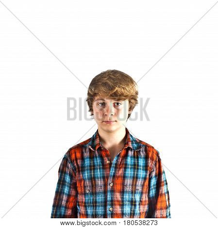 portrait of smiling cute boy in the studio