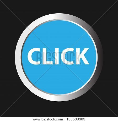 Click here vector icon. Chrome border round web button. Silver metallic pushbutton.