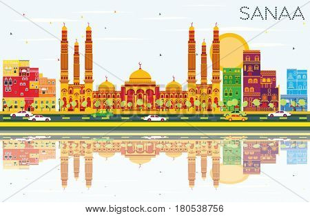 Sanaa (Yemen) Skyline with Color Buildings, Blue Sky and Reflections. Business Travel and Tourism Concept with Modern Architecture. Image for Presentation Banner Placard and Web Site.