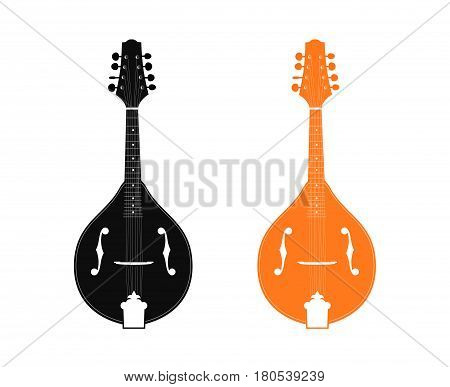 Silhouette of Mandolin in Black and Orange color isolated on white background. Vector illustration of Folk Musical Instrument.