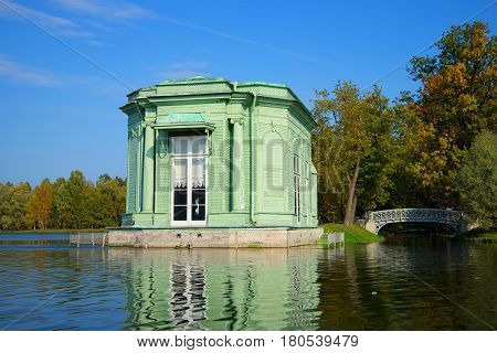 GATCHINA, RUSSIA - SEPTEMBER 24, 2015: Pavilion of Venus close up in the sunny September afternoon. View from White lake. Gatchina palace park