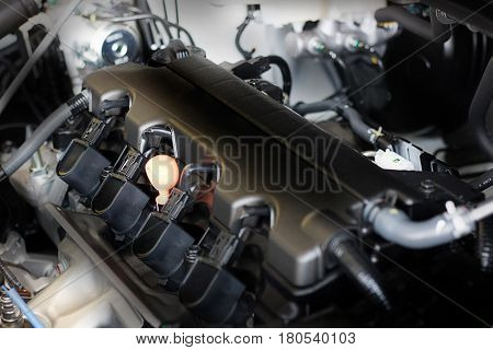 New Car Engine Part. Modern Powerful Car Engine. The Powerful Engine Of A Car.detail Photo Of A Clea