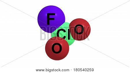 Perchloryl fluoride is a reactive gas with the chemical formula ClO3F. It has a characteristic sweet odor that resembles gasoline. It is a toxic oxidizing and fluorinating agent. 3d illustration