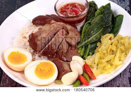 Jasmine Rice With Stewed Pork Hock,khao Kha Moo Palo.