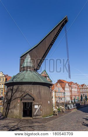 STADE, GERMANY - MARCH 27, 2017: Old wooden crane at the fish market in Stade, Germany