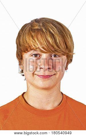 Portrait Of Cute Boy With Orange Shirt