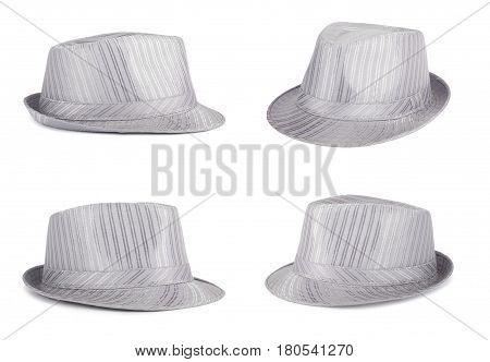 Set of silver silk hat for the summer on an isolated background