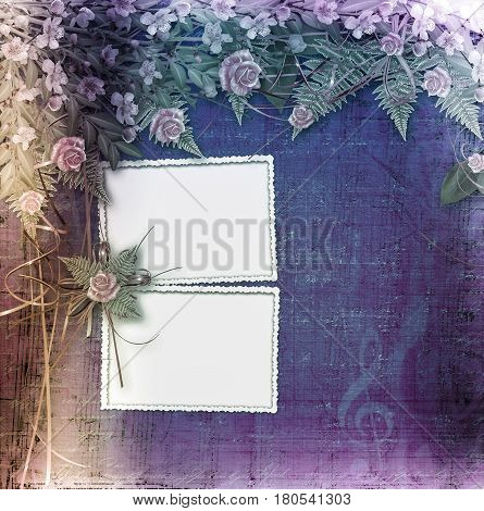 Writing Abstract Background With Frame And Floral Beautiful Bouquet